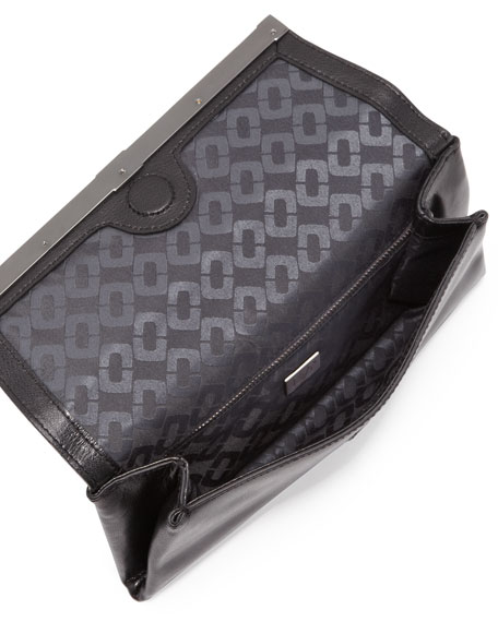 440 Envelope Clutch Bag with Snake-Print Trim, Black
