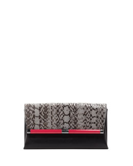 Diane von Furstenberg 440 Envelope Clutch Bag with Snake-Print Trim, Black