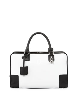 Loewe Amazona Panda-Charm Satchel Bag, White/Black