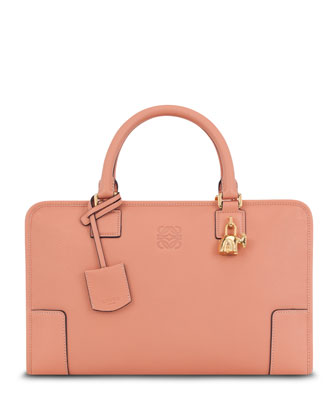 Amazona Bull-Charm Satchel Bag, Peach