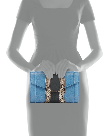 Herzog Python Clutch Bag, Blue
