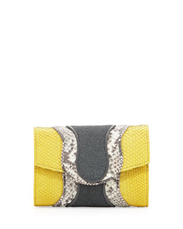 Khirma Eliazov Jolie Python & Stingray Clutch Bag, Yellow