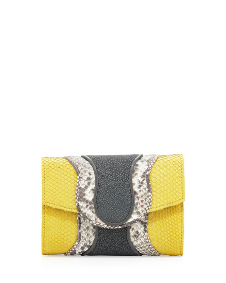 Jolie Python & Stingray Clutch Bag, Yellow