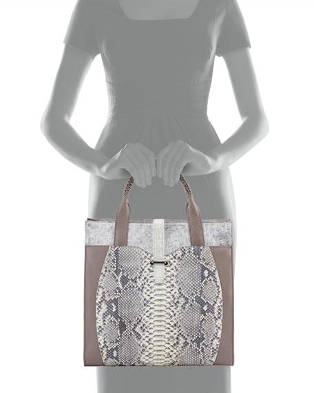 Corina Python & Leather Tote Bag, Gray