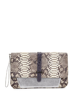 Khirma Eliazov Maxim Python Envelope Clutch Bag, Gray
