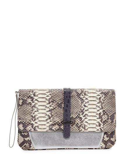 Maxim Python Envelope Clutch Bag, Gray