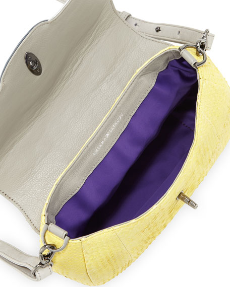 Oxy Python & Crocodile Crossbody Bag, Yellow