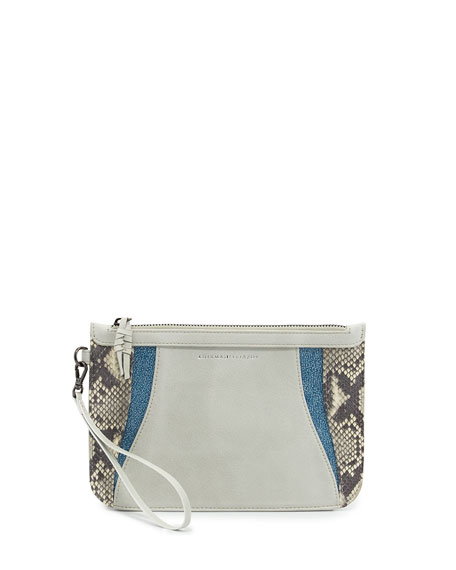 Python & Leather Zip Pouch Wristlet, White