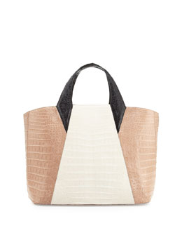 Nancy Gonzalez Colorblock Crocodile Tote Bag