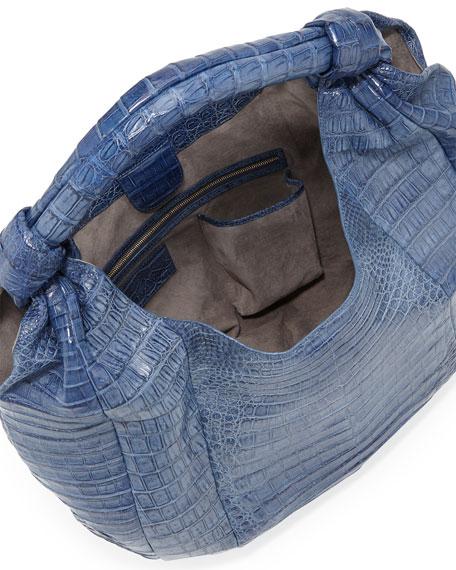 Crocodile Hobo Bag, Blue