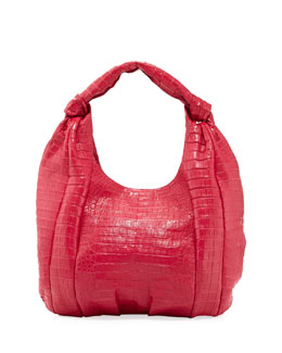 Nancy Gonzalez Crocodile Medium Knotted-Handle Hobo Bag, Pink