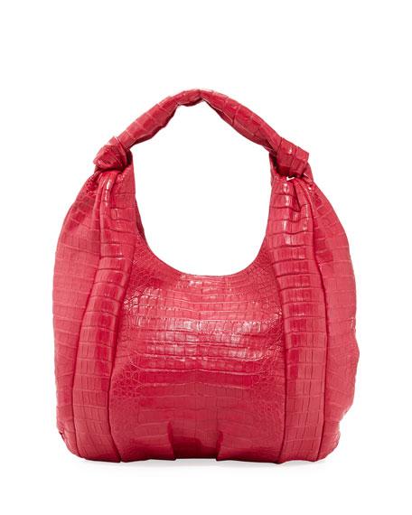 Crocodile Medium Knotted-Handle Hobo Bag, Pink