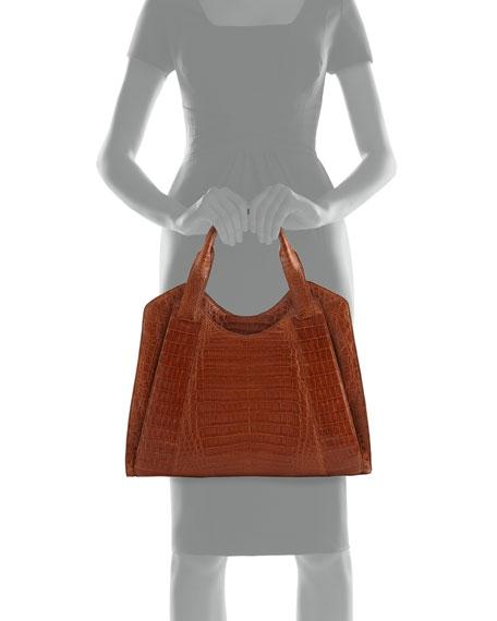 Crocodile Satchel Bag, Brown