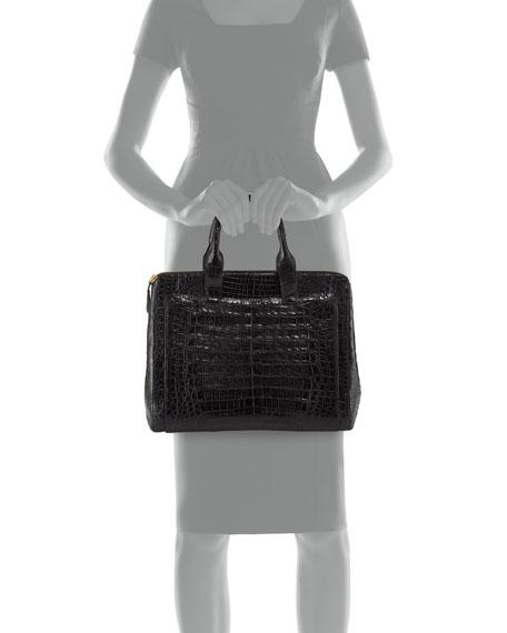 Crocodile Large Zip Tote Bag, Black