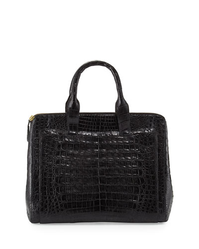 Nancy Gonzalez Crocodile Large Zip Tote Bag, Black