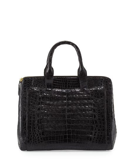 Crocodile Large Zip Tote Bag, Black