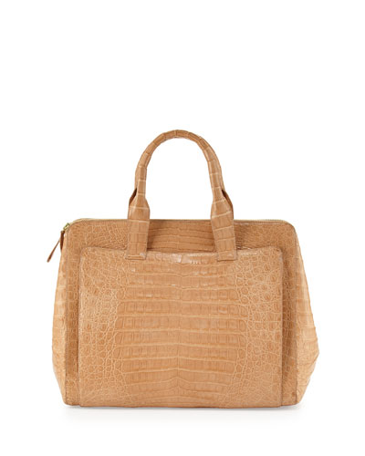 Crocodile Large Zip Tote Bag, Beige
