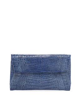 Nancy Gonzalez Small Soft Crocodile Flap Clutch Bag, Blue