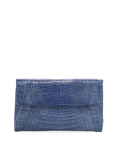 Small Soft Crocodile Flap Clutch Bag, Blue