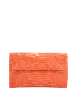 Nancy Gonzalez Small Soft Crocodile Flap Clutch Bag, Orange