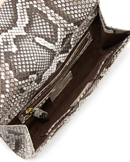 Python Crocodile-Bar Clutch Bag, Natural