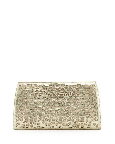 Straw/Crocodile Clutch Bag, Light Gold