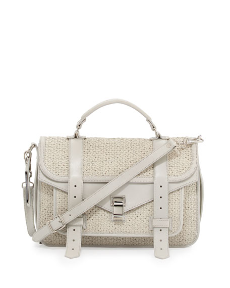 PS1 Medium Woven Shoulder Bag, Cream