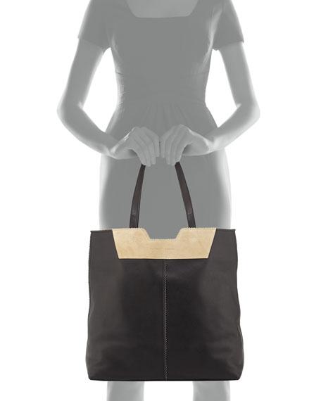 Paper Bag Leather Tote, Black/Brown