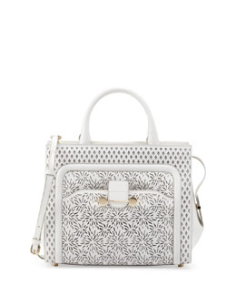 Jason Wu Daphne Laser-Cut Crossbody Tote Bag, Ivory
