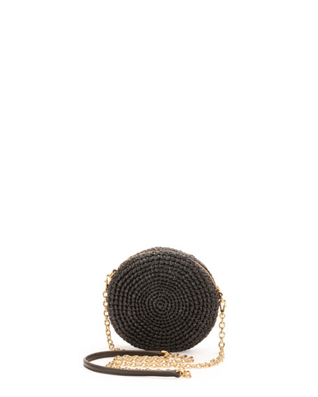 Glam Round Coin Crossbody Bag, Black