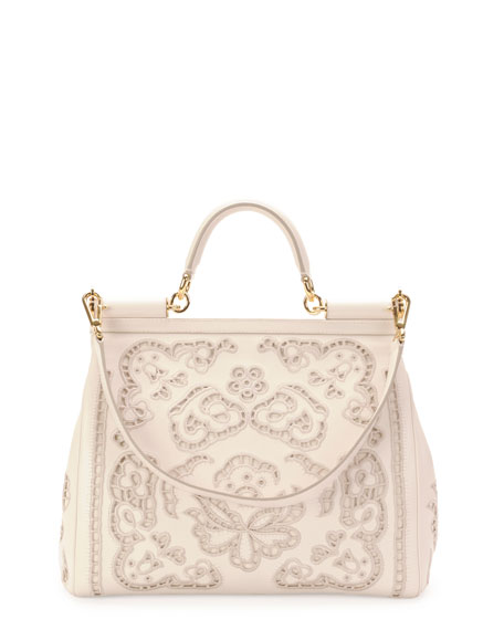 Miss Sicily Leather Lace Satchel Bag, White