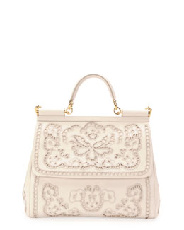 Dolce & Gabbana Miss Sicily Leather Lace Satchel Bag, White