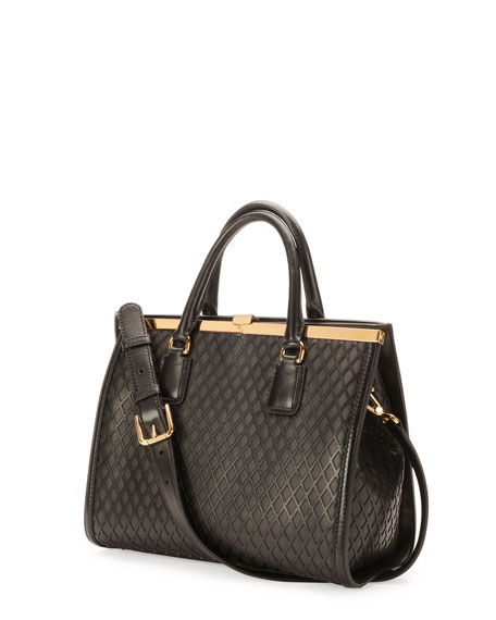 Sofia Framed Lattice Satchel Bag, Black
