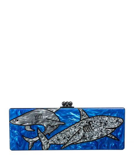 Sharks Acrylic Clutch Bag, Ocean Multi