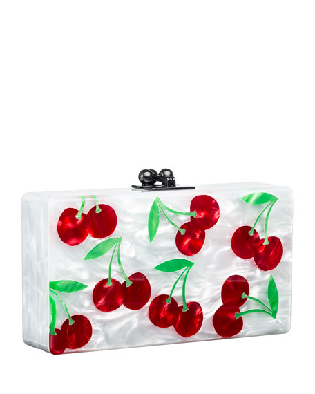 Jean Cherries Acrylic Clutch Bag, White/Red