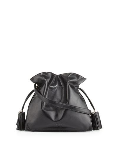 Loewe Flamenco 30 Polished Calfskin Drawstring Bag, Black