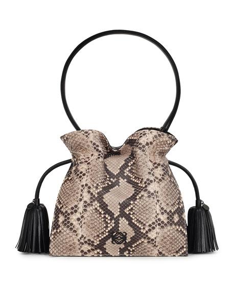 Flamenco 22 Drawstring Python Bag