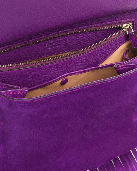 Nouveau Suede Fringe Shoulder Bag, Purple