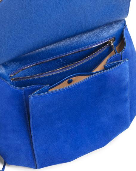 Nouveau Suede Shoulder Bag, Cobalt
