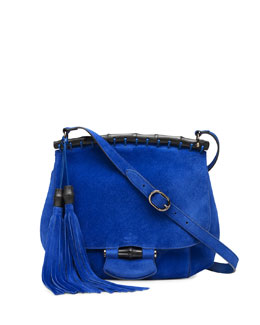 Gucci Nouveau Suede Shoulder Bag, Cobalt