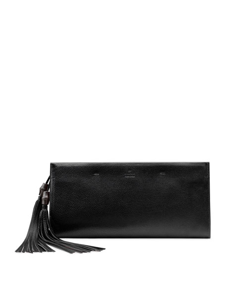 Nouveau Leather Tassel Clutch Bag, Black