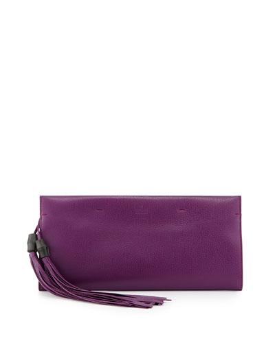 Gucci Nouveau Leather Tassel Clutch Bag, Purple