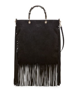 Gucci Bamboo Suede Fringe Shopper Tote Bag, Black