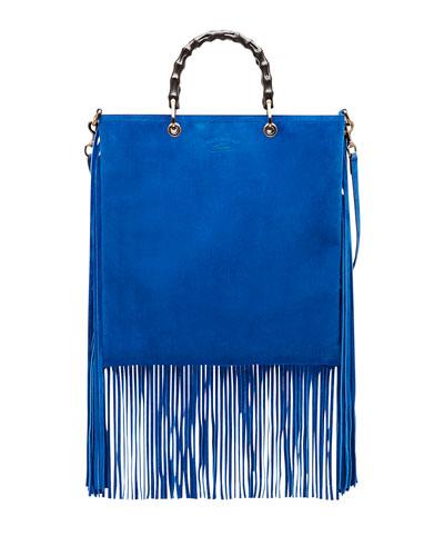 Bamboo Suede Fringe Shopper Tote Bag, Cobalt
