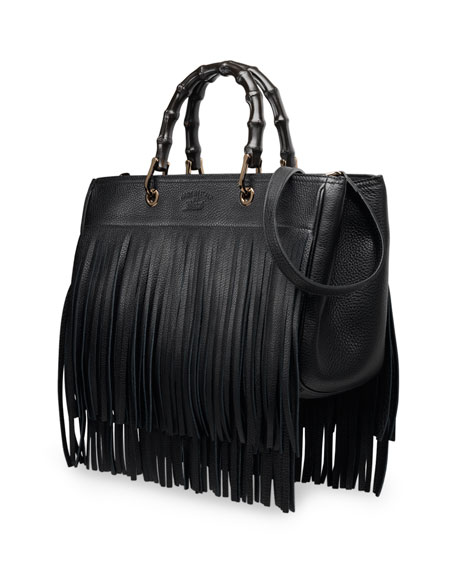 be83a6544 Gucci Bamboo Leather Fringe Shopper Tote Bag, Black