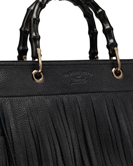 Bamboo Leather Fringe Shopper Tote Bag, Black