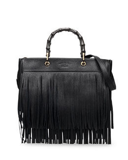 Gucci Bamboo Leather Fringe Shopper Tote Bag, Black