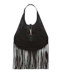 Gucci Nouveau Suede Fringe Hobo Bag, Black