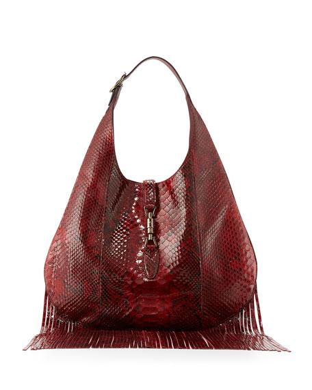 Gucci Nouveau Python Fringe Hobo Bag, Red
