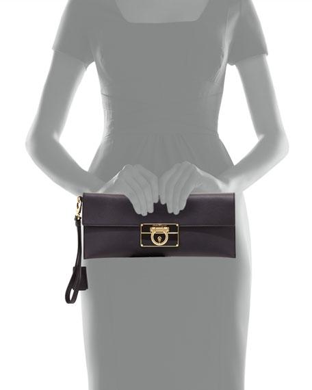 Afef Lock Story Wristlet Clutch Bag, Black
